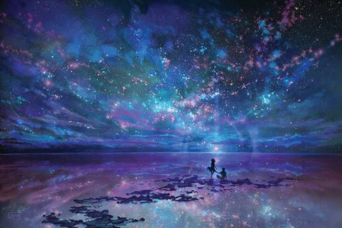 ocean sky stars and you