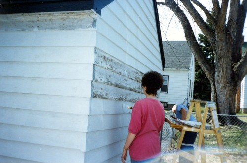 22mom with dad painting our garage