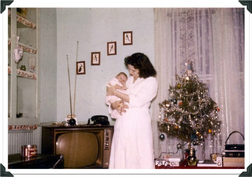 This is my Mom with my sister as a tiny infant.  It my sister's birthday on Thursday